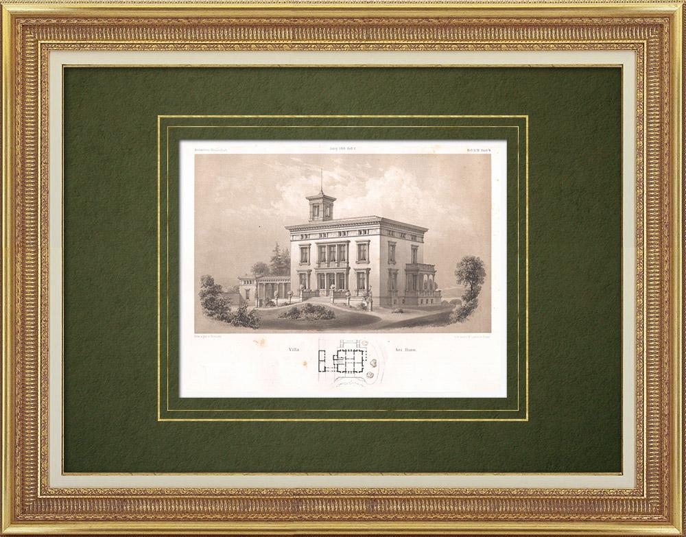 Stampe Antiche & Disegni   Casa vicino a Bonn (Germania)   Litografia   1865
