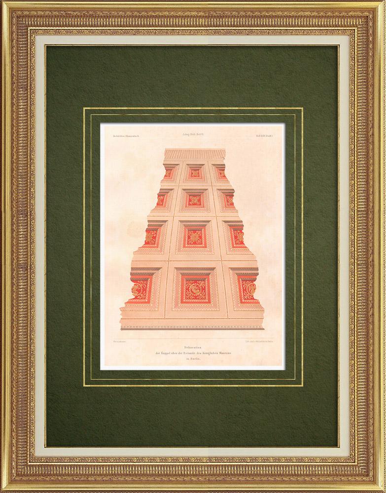 Stampe Antiche & Disegni | Decorazione della cupola del Museo Reale di Berlino (Germania) | Litografia | 1865