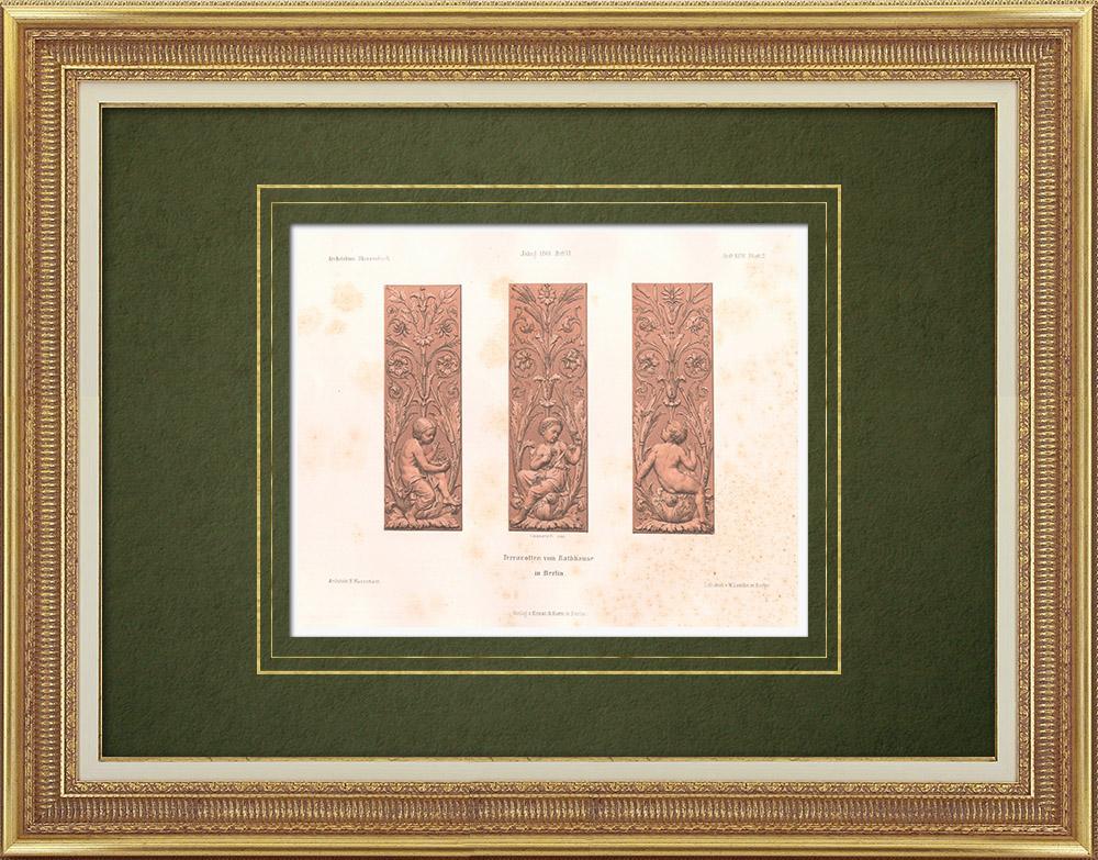 Stampe Antiche & Disegni | Piastrelle in terracotta nel municipio di Berlino (Germania) | Litografia | 1869