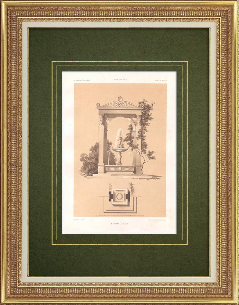Stampe Antiche & Disegni   Progetto per una fonte (Germania)   Litografia   1865