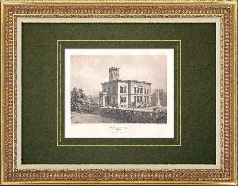 Stampe Antiche & Disegni | Villa Rentzing a Stadtbergen (Germania) | Litografia | 1865