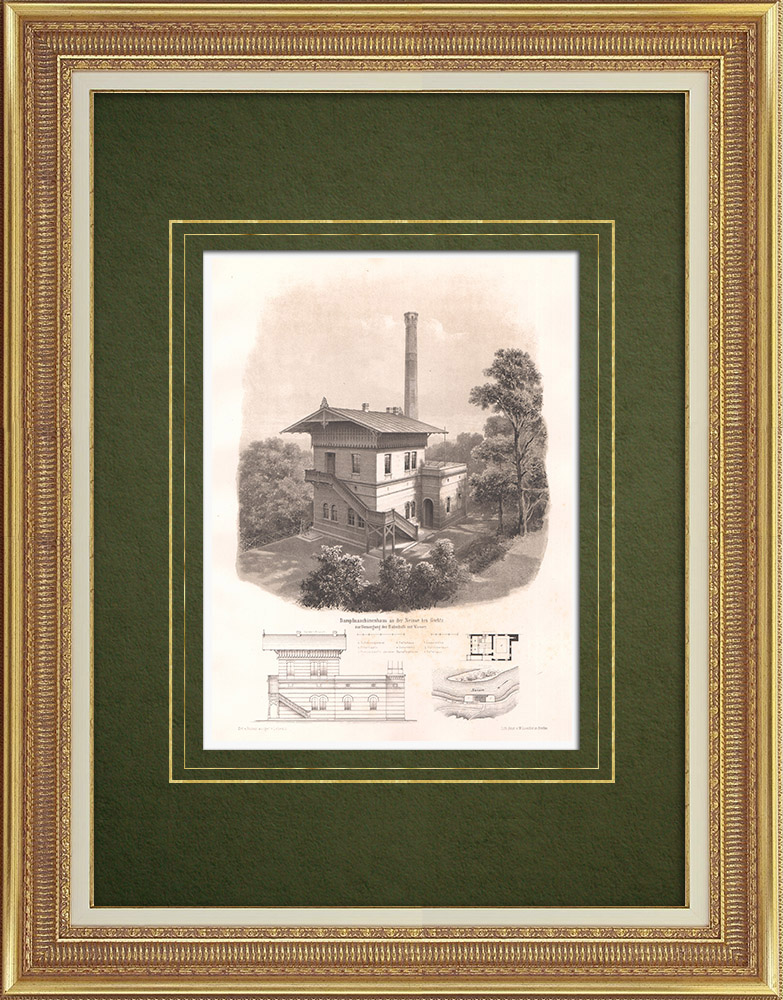 Antique Prints & Drawings   Steam engine on the Neisse near Görlitz (Germany)   Lithography   1868
