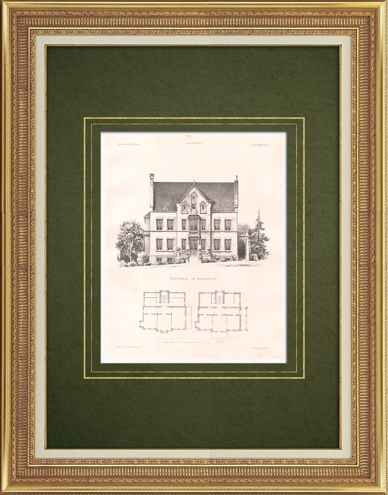 Antique Prints & Drawings | Clergy house in Stromberg - Rhineland-Palatinate (Germany) | Lithography | 1865