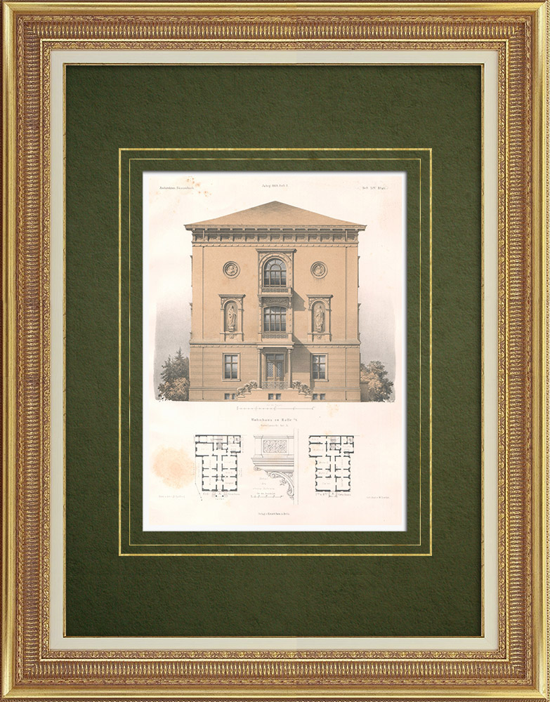 Antique Prints & Drawings   House in Halle (Germany)   Lithography   1869