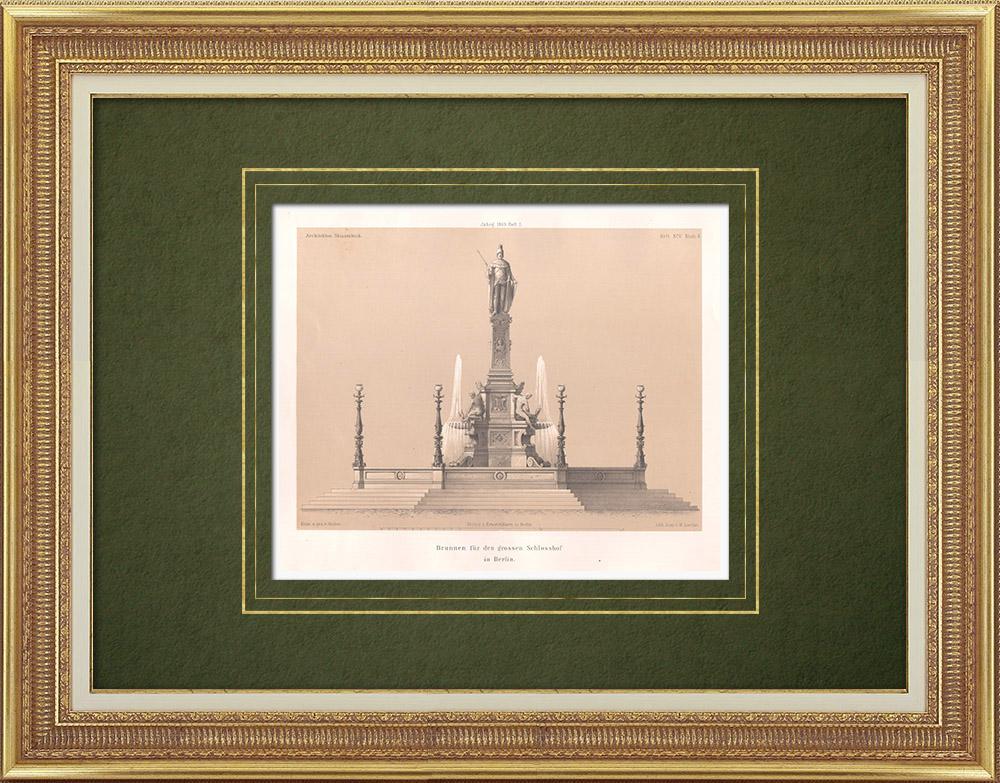 Stampe Antiche & Disegni | Progetto per una fonte per il Castello di Berlino (Germania) | Litografia | 1865