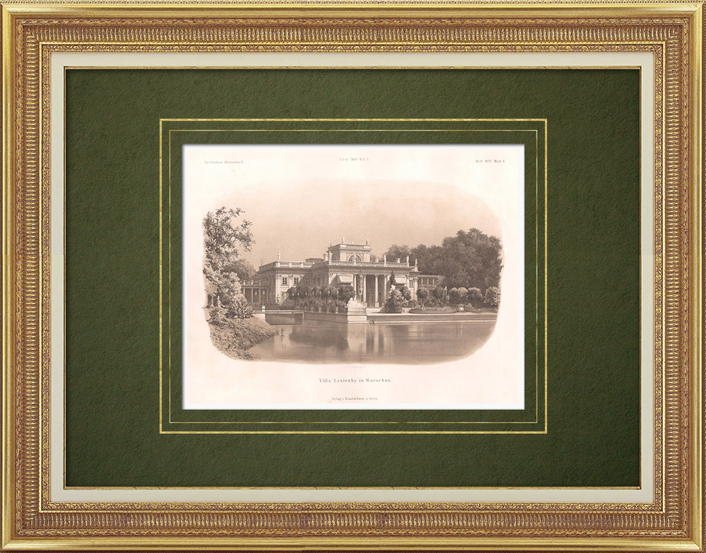 Antique Prints & Drawings | Villa Lasienky in Warsaw (Poland) | Lithography | 1869