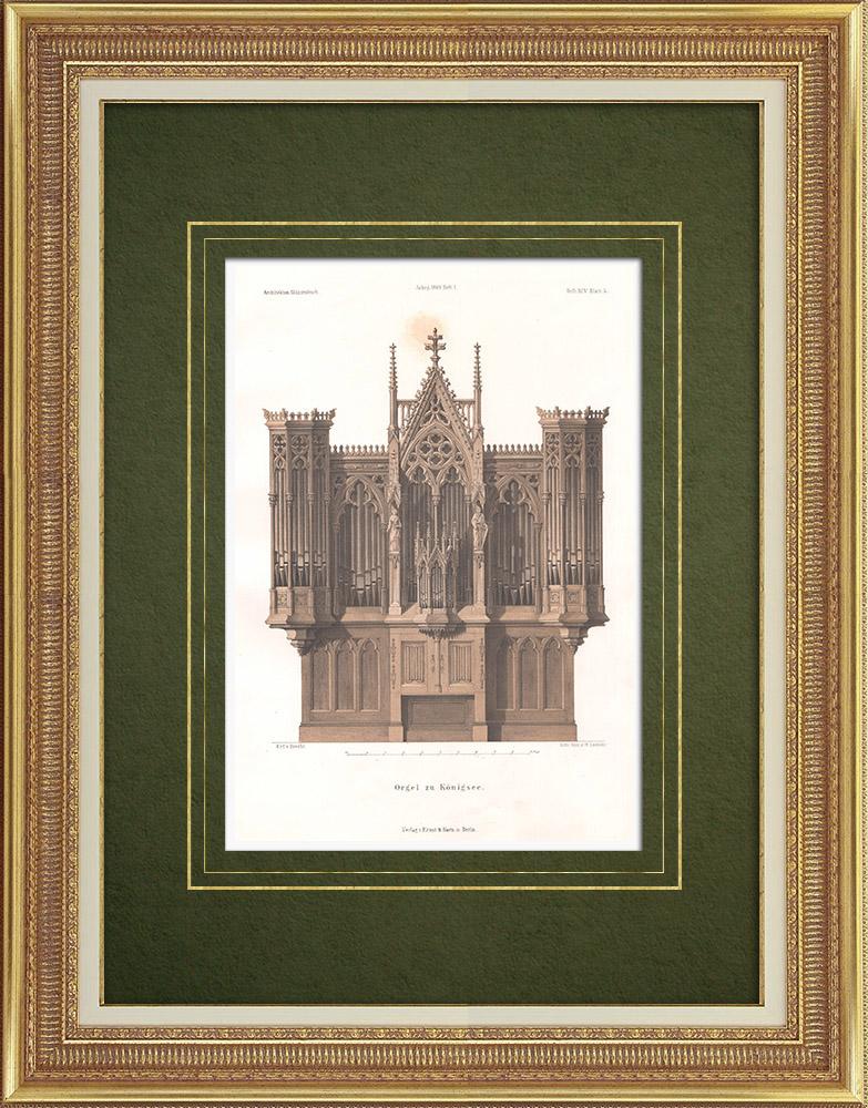 Stampe Antiche & Disegni | Organi della Chiesa di Königsee (Germania) | Litografia | 1865