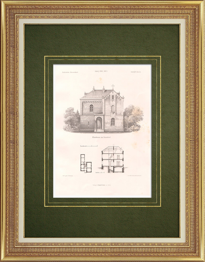 Antique Prints & Drawings | Rectory in Duisdorf - Bonn (Germany) | Lithography | 1865