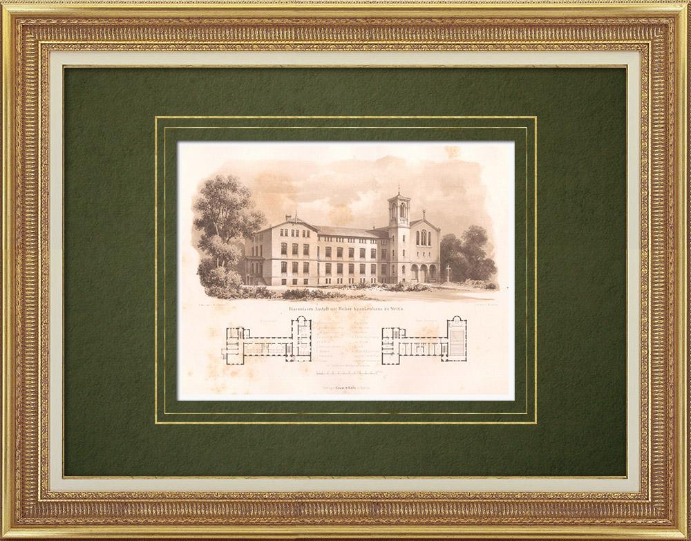 Stampe Antiche & Disegni | Ospedale a Stettino (Polonia) | Litografia | 1865