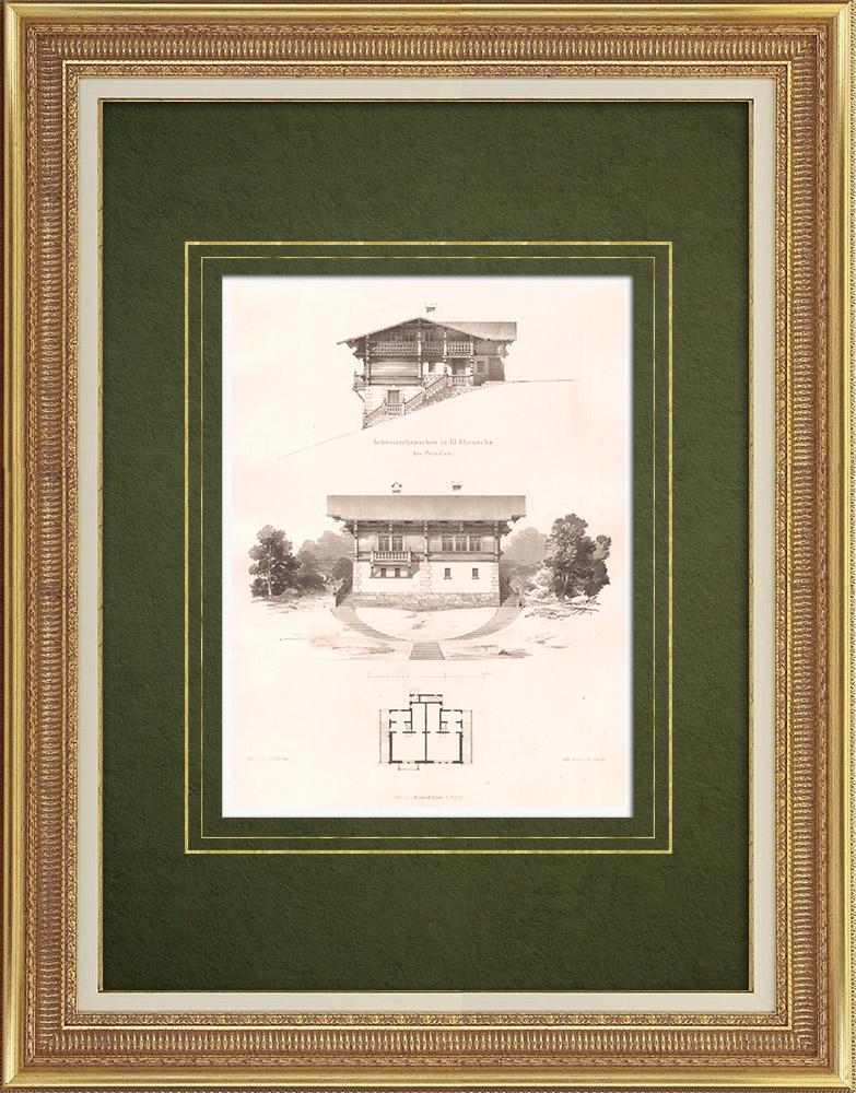 Stampe Antiche & Disegni | Chalet a Klein Glienicke vicino a Potsdam (Germania) | Litografia | 1869