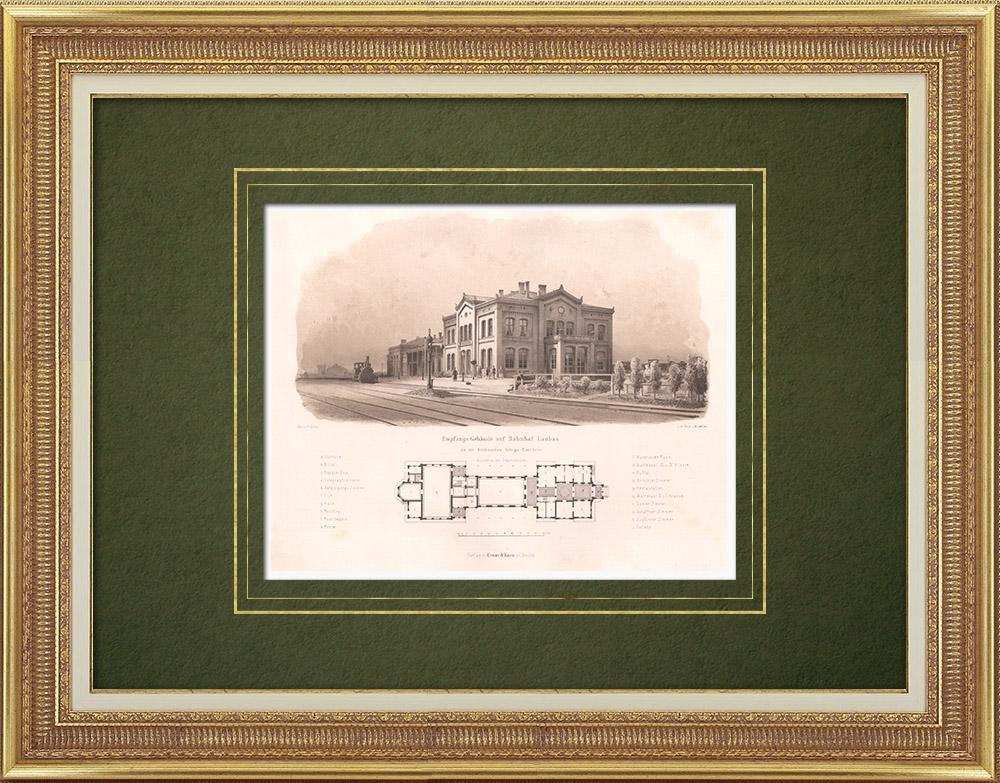 Stampe Antiche & Disegni | Stazione ferroviaria a Luba? (Polonia) | Litografia | 1865