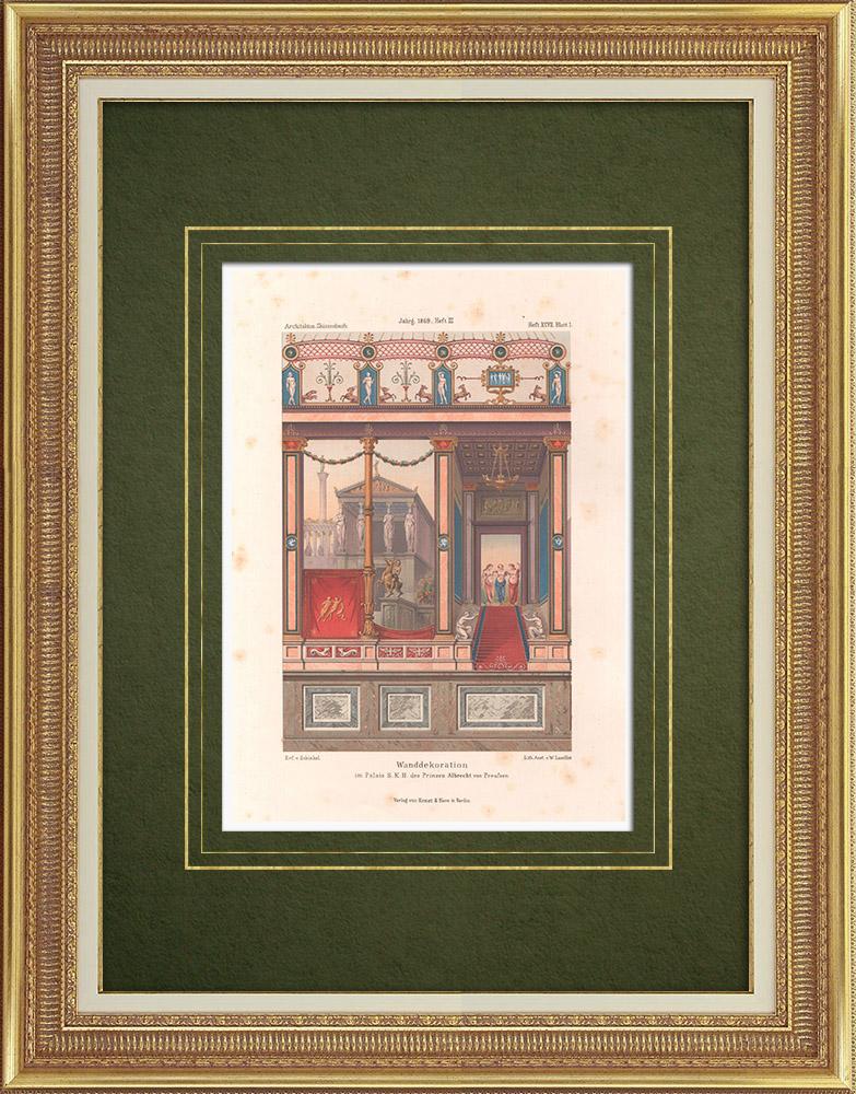 Stampe Antiche & Disegni | Pittura murale nel Palazzo del Principe Alberto di Prussia a Berlino (Germania) | Litografia | 1865