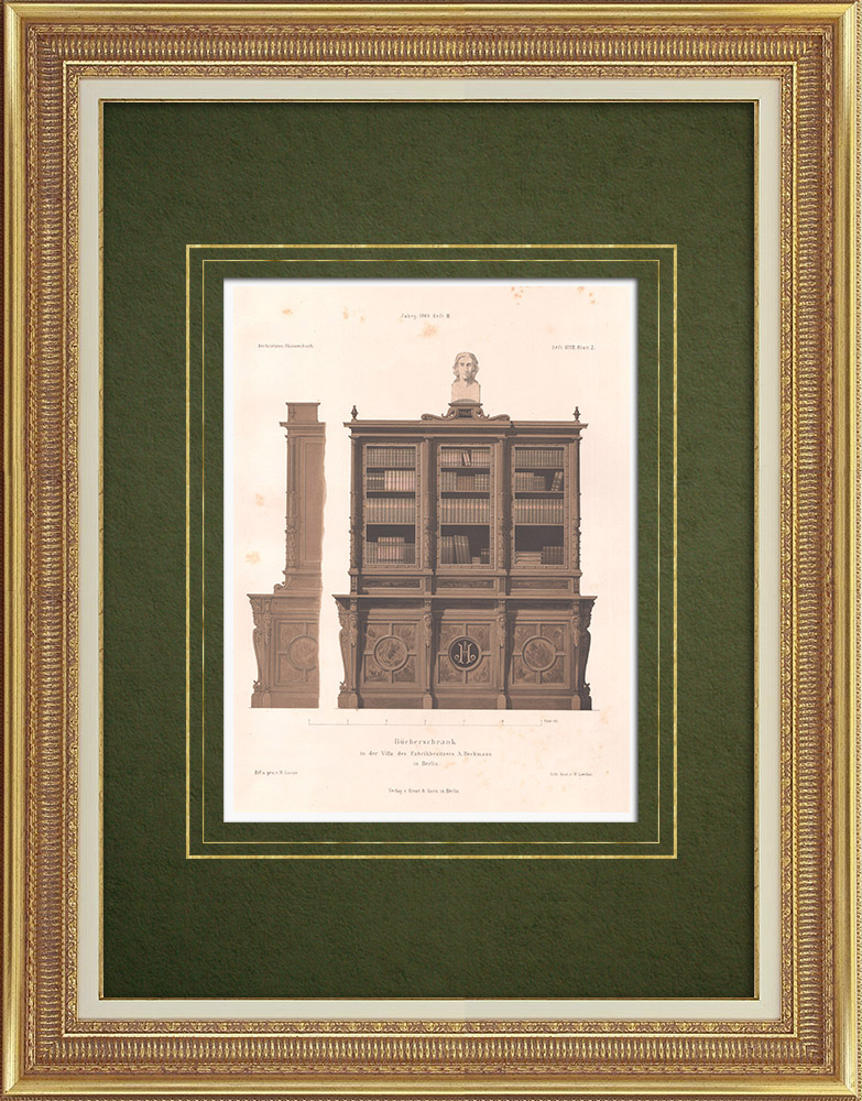 Antique Prints & Drawings | Bookcase in a house in Berlin (Germany) | Lithography | 1865