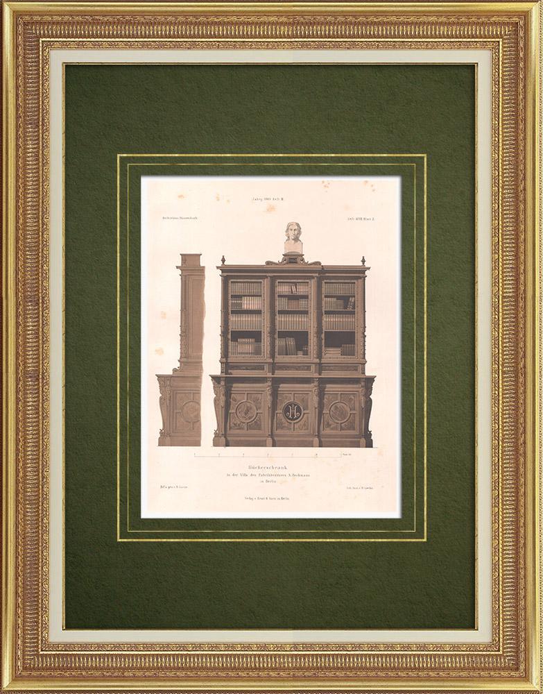 Stampe Antiche & Disegni | Libreria in una casa a Berlino (Germania) | Litografia | 1865
