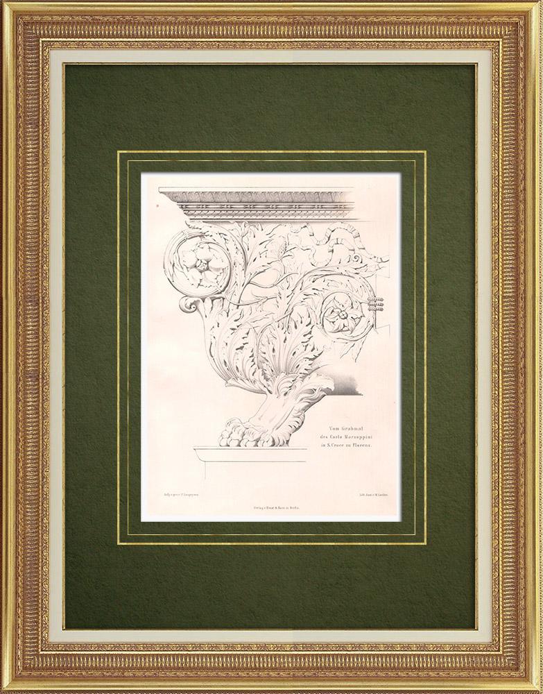 Stampe Antiche & Disegni | Mausoleo di Carlo Marzuppini a Firenze (Italia) | Litografia | 1865