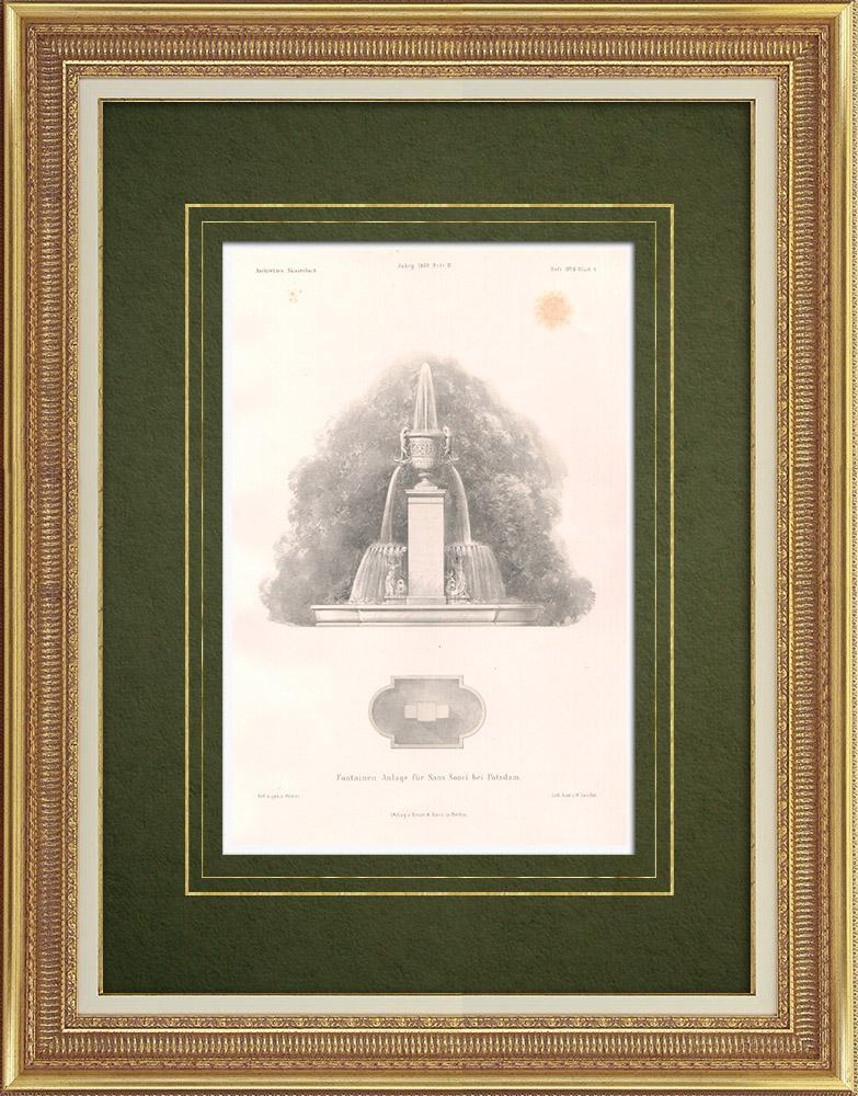 Grabados & Dibujos Antiguos | Proyecto de fuente para la ciudad de Potsdam (Alemania) | Litografía | 1869