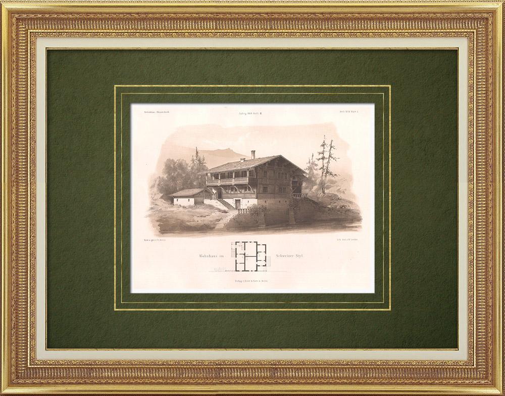 Stampe Antiche & Disegni | Casa in stile Svizzero | Litografia | 1869