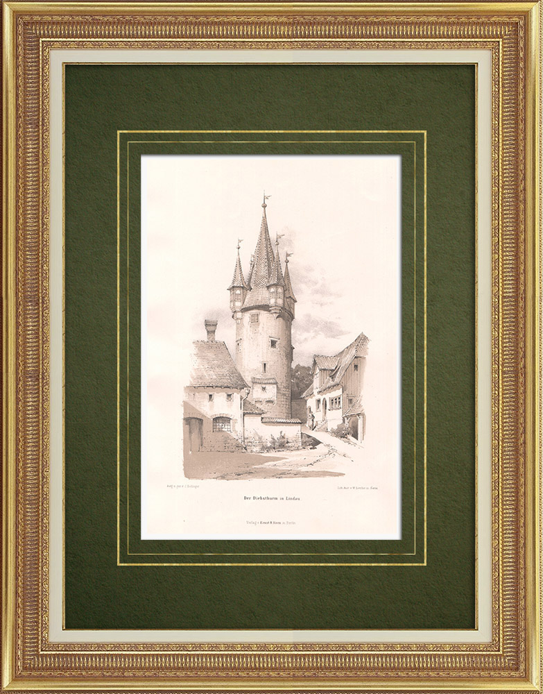 Antique Prints & Drawings | Diebsturm in Lindau (Germany) | Lithography | 1869