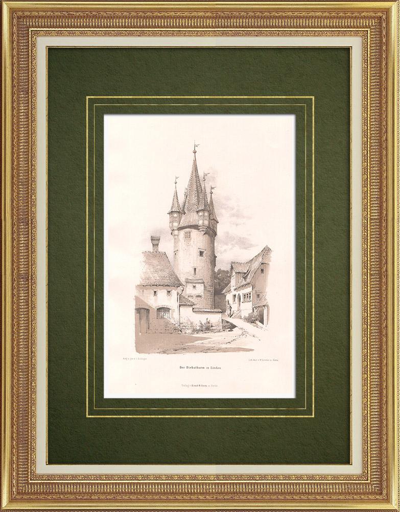 Grabados & Dibujos Antiguos | Diebsturm en Lindau (Alemania) | Litografía | 1869