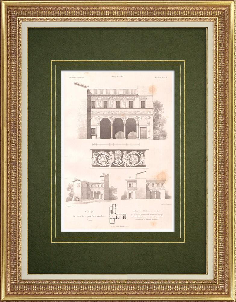 Stampe Antiche & Disegni | Casinò di fronte a Porta Angelica a Roma (Italia) | Litografia | 1869