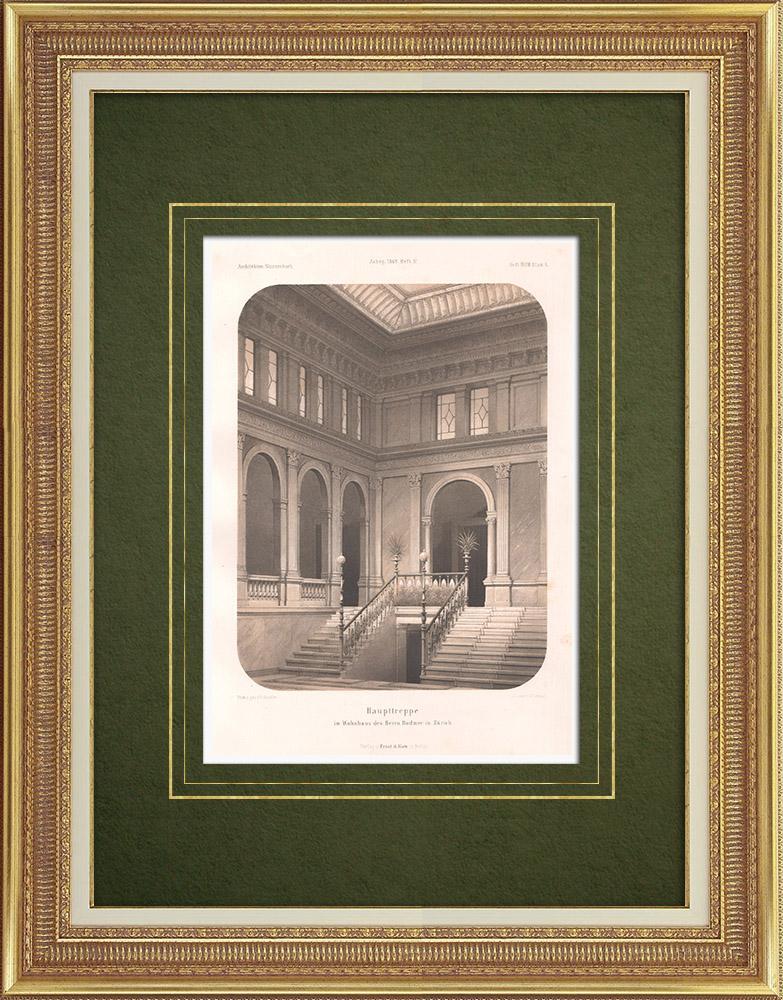 Stampe Antiche & Disegni | Scala di una casa a Zurigo (Svizzera) | Litografia | 1865