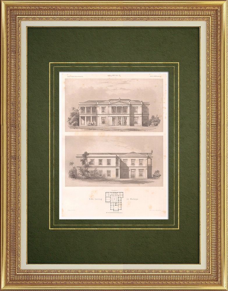 Gravures Anciennes & Dessins | Villa Loring à Malaga (Espagne) | Lithographie | 1869