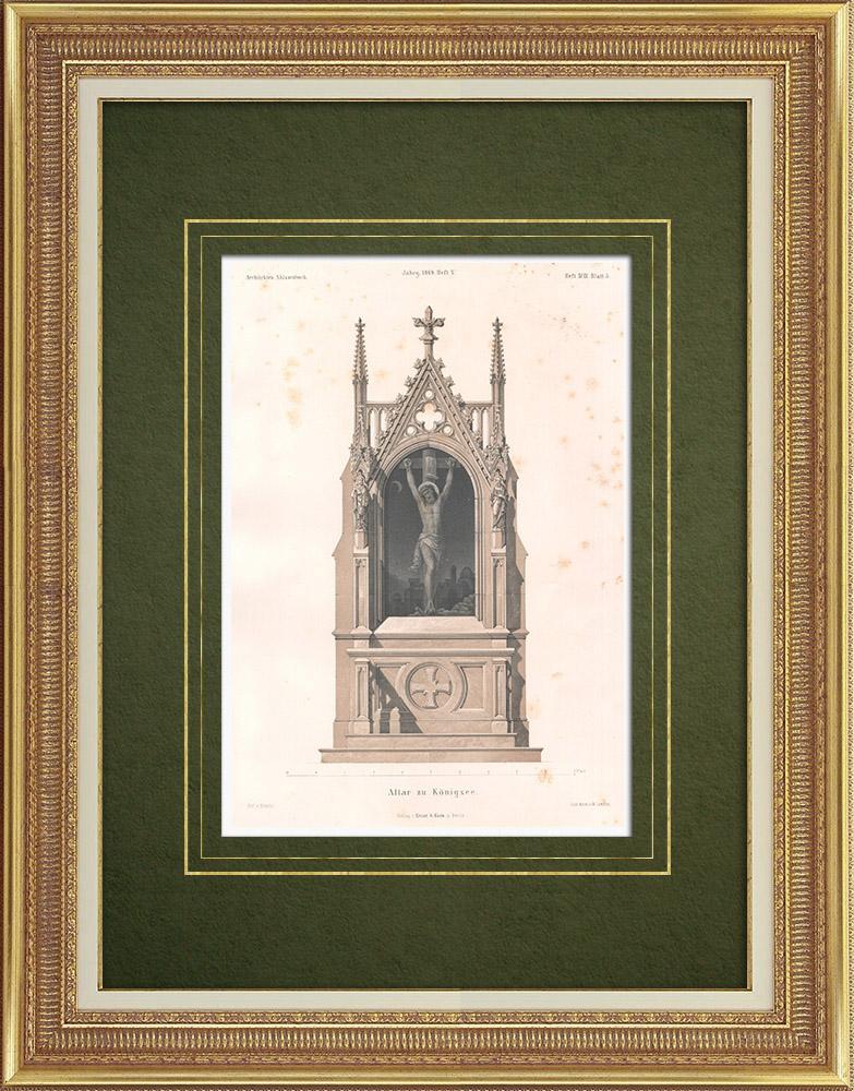 Stampe Antiche & Disegni | Altare della Chiesa di Königssee - Baviera (Germania) | Litografia | 1865