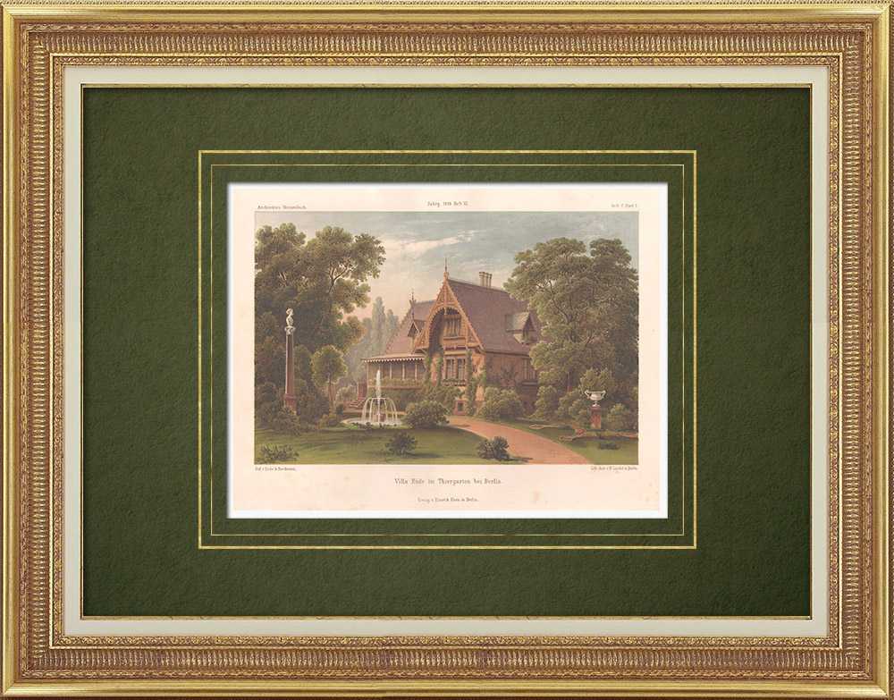 Antique Prints & Drawings   Villa Ende in Thiergarten near Berlin (Germany)   Lithography   1865