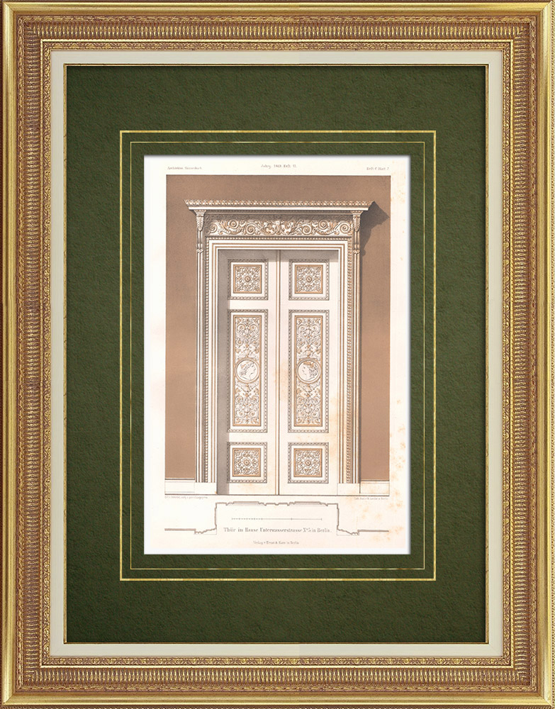 Antique Prints & Drawings | Door of a house in Berlin (Germany) | Lithography | 1869