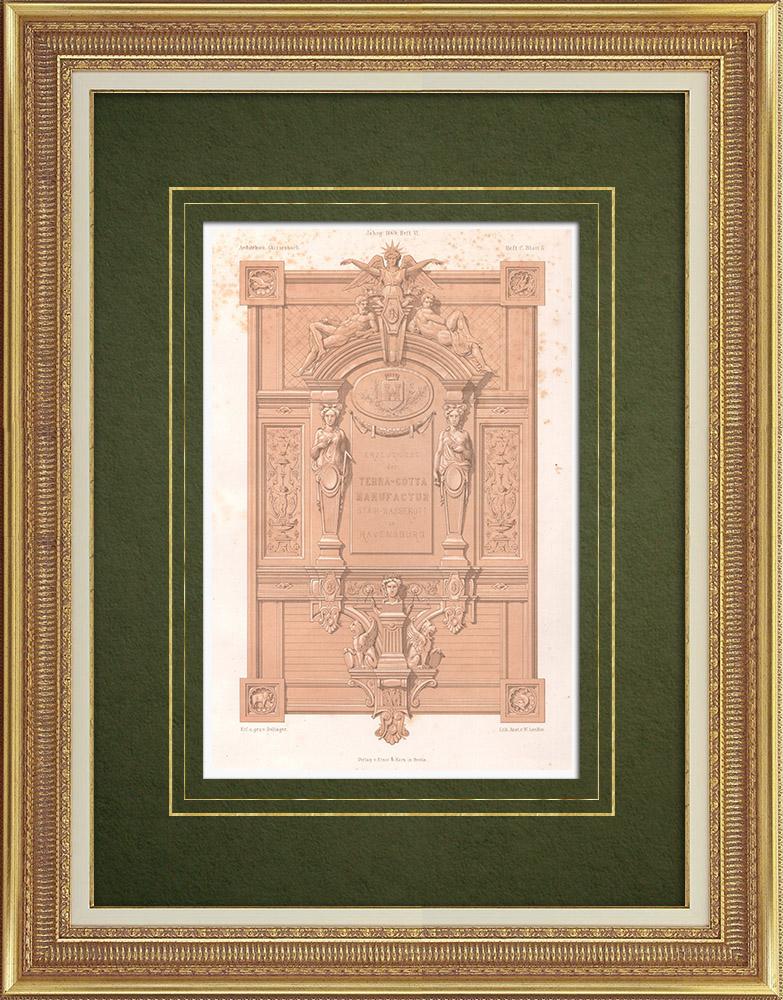Gravures Anciennes & Dessins | Enseigne de la fabrique de terres cuites à Ravensbourg (Allemagne) | Lithographie | 1869