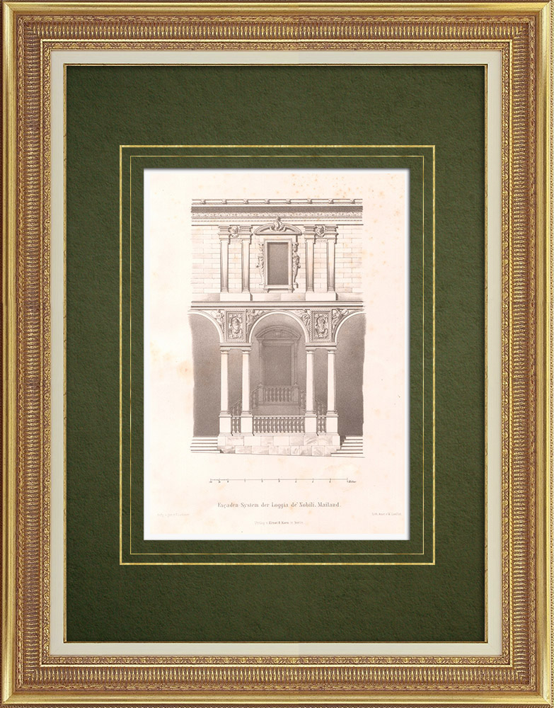 Stampe Antiche & Disegni | Loggia di Nobili a Milano (Italia) | Litografia | 1869