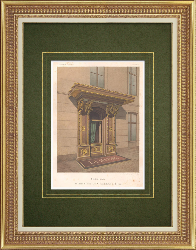 Antique Prints & Drawings | Entrance door of a store in Berlin (Germany) | Lithography | 1863