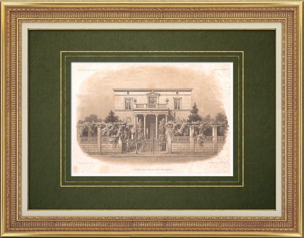 Grabados & Dibujos Antiguos | Villa Arnim en Potsdam cerca de Sanssouci (Alemania) | Litografía | 1863