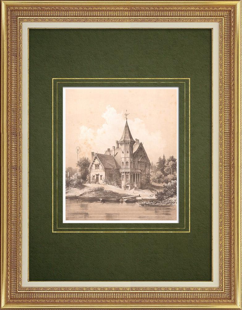 Stampe Antiche & Disegni   Castello a Premnitz (Germania)   Litografia   1865