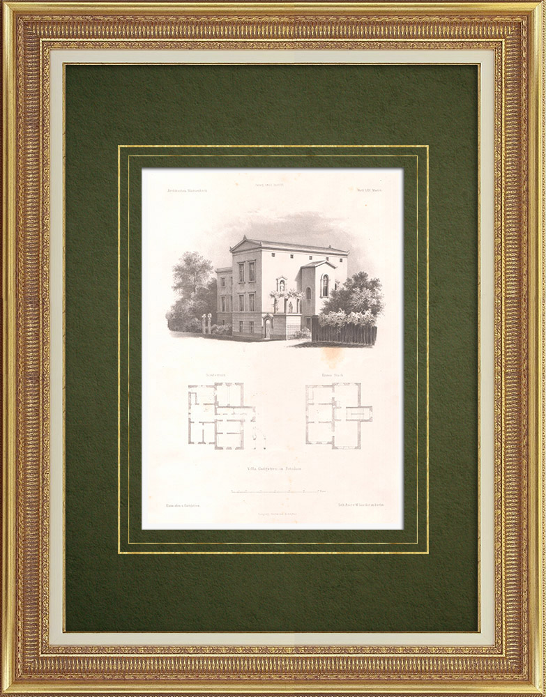 Antique Prints & Drawings | House in Postdam (Germany) | Lithography | 1863