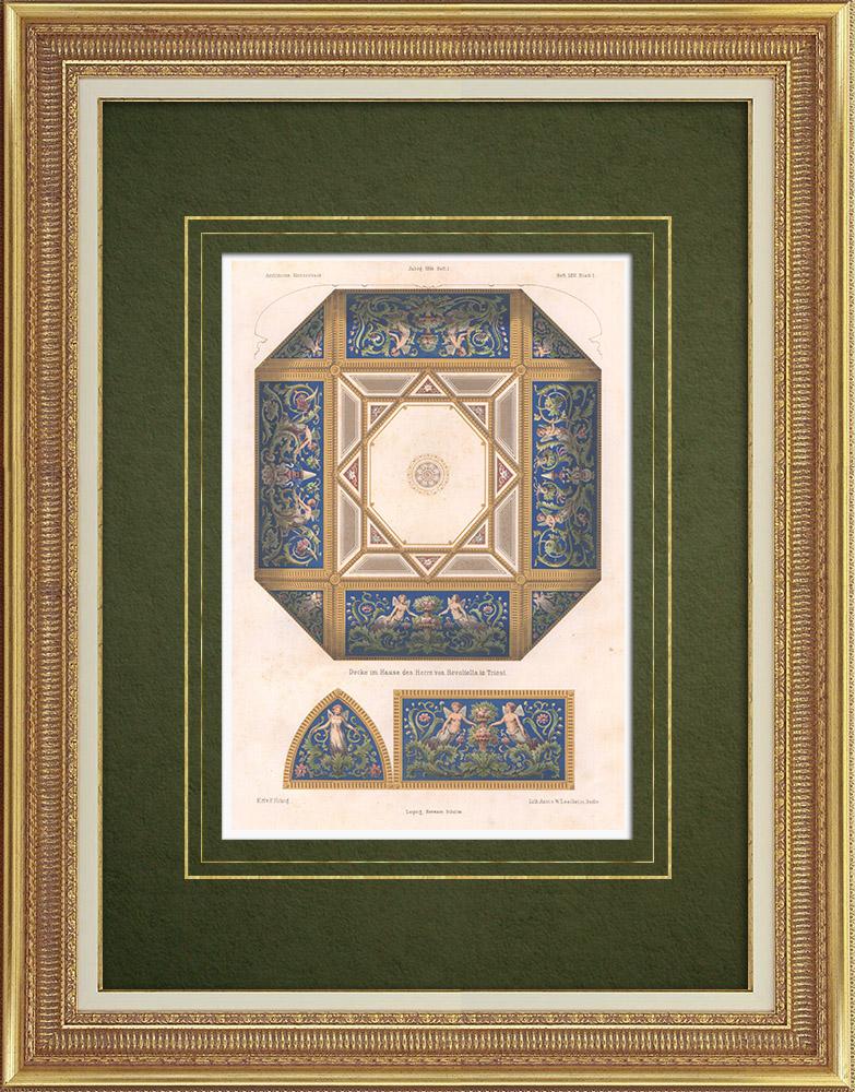 Gravures Anciennes & Dessins   Plafond dans une maison de Trieste (Italie)   Lithographie   1864