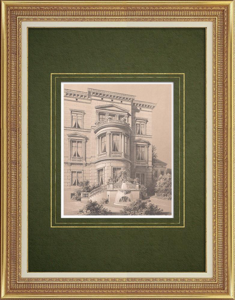 Stampe Antiche & Disegni | Facciata di una casa a Berlino (Germania) | Litografia | 1864