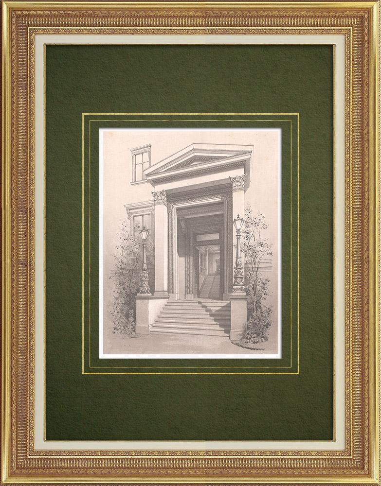 Stampe Antiche & Disegni | Entrata di una casa a Berlino (Germania) | Litografia | 1865