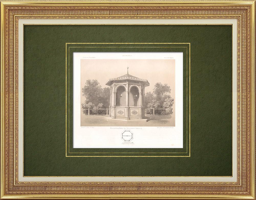 Grabados & Dibujos Antiguos | Trinkhall en Brunswick (Alemania) | Litografía | 1865