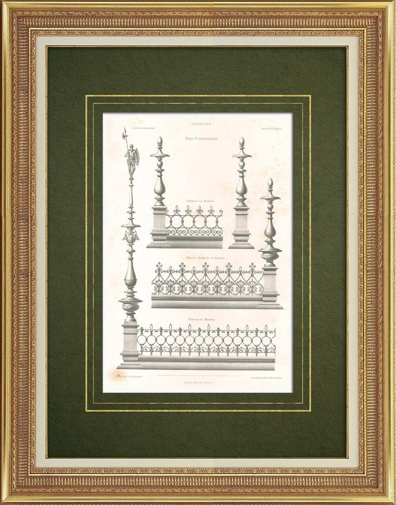 Stampe Antiche & Disegni | Decorazione di frontoni a Muskau (Germania) | Litografia | 1865