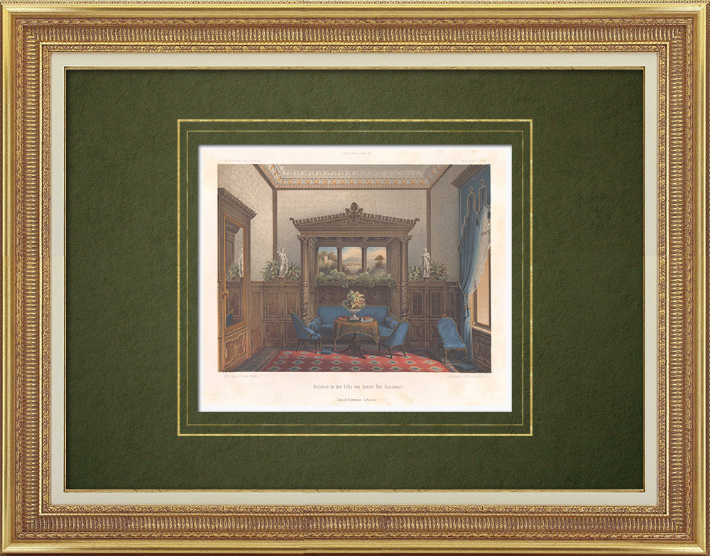 Antique Prints & Drawings | Boudoir in the Villa Arnim near Sanssouci (Germany)  | Lithography | 1864
