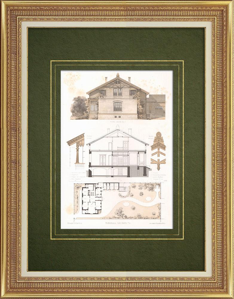 Stampe Antiche & Disegni | Casa vicino a Halle (Germania) | Litografia | 1865
