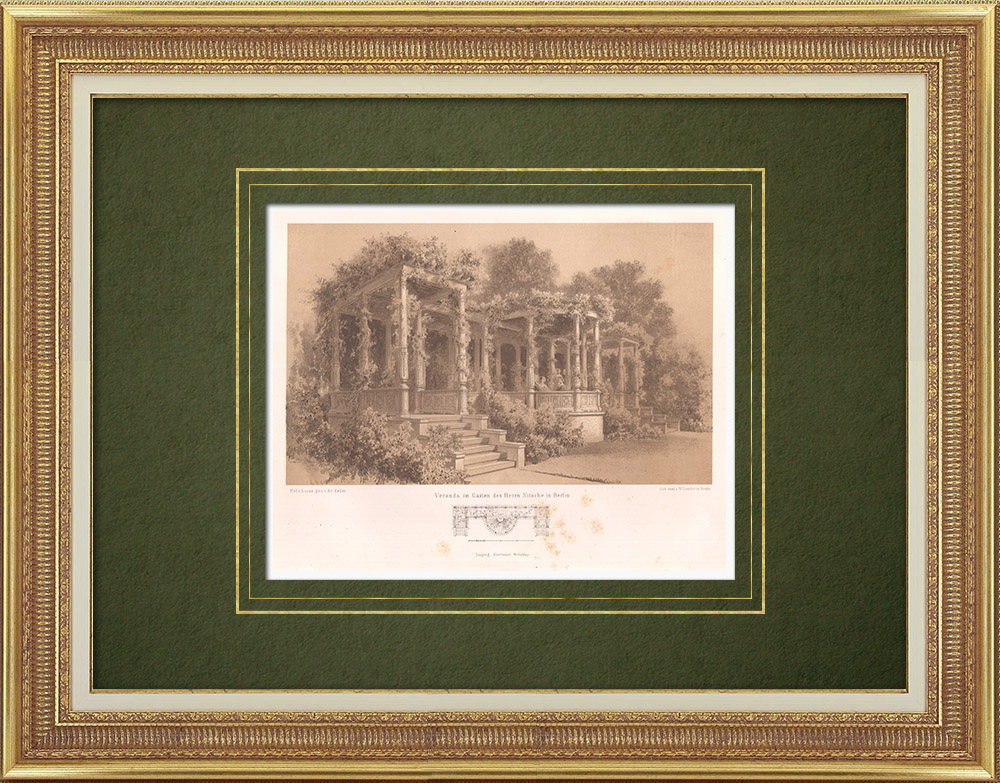 Stampe Antiche & Disegni   Terrazza in un giardino a Berlino (Germania)   Litografia   1865