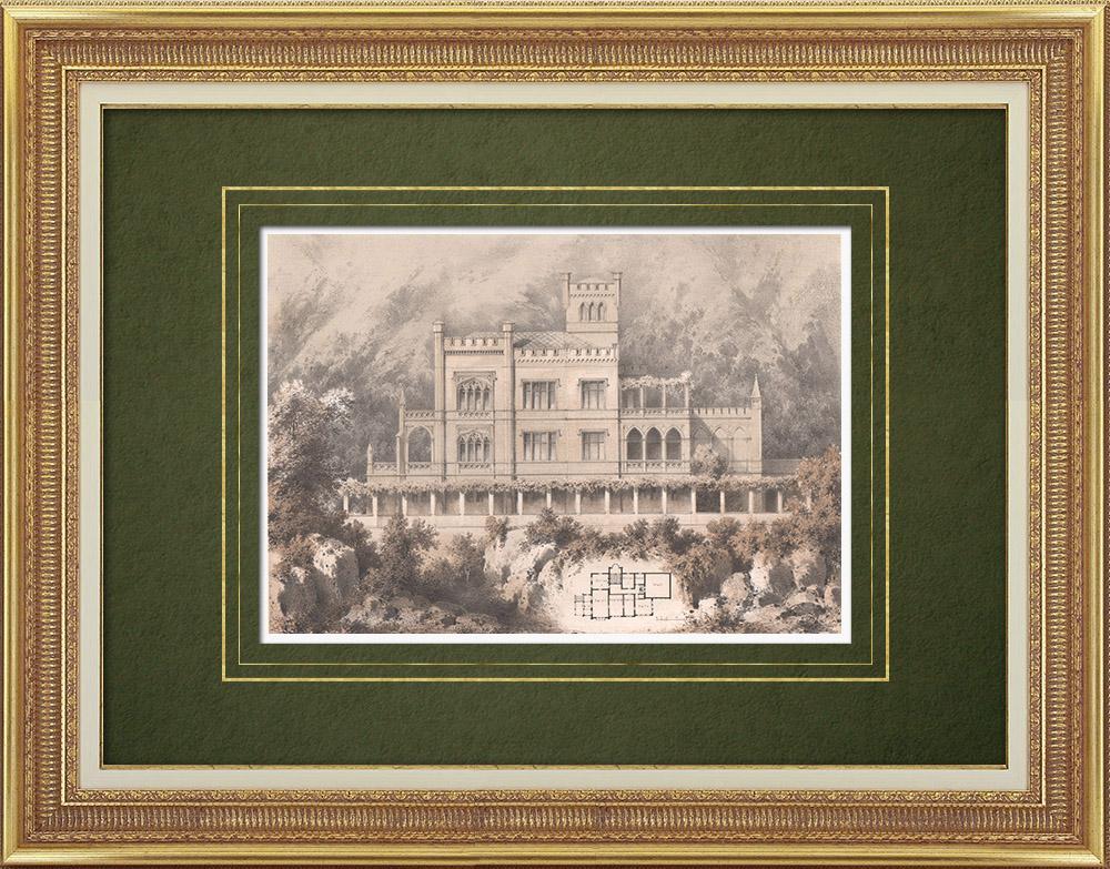Grabados & Dibujos Antiguos | Casa cerca de Bautzen (Alemania) | Litografía | 1864