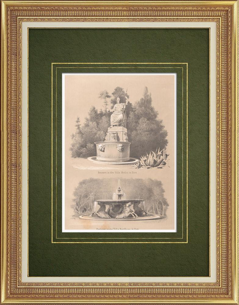 Stampe Antiche & Disegni   Fontane a Villa Medici e Villa Borghese a Roma (Italia)   Litografia   1864