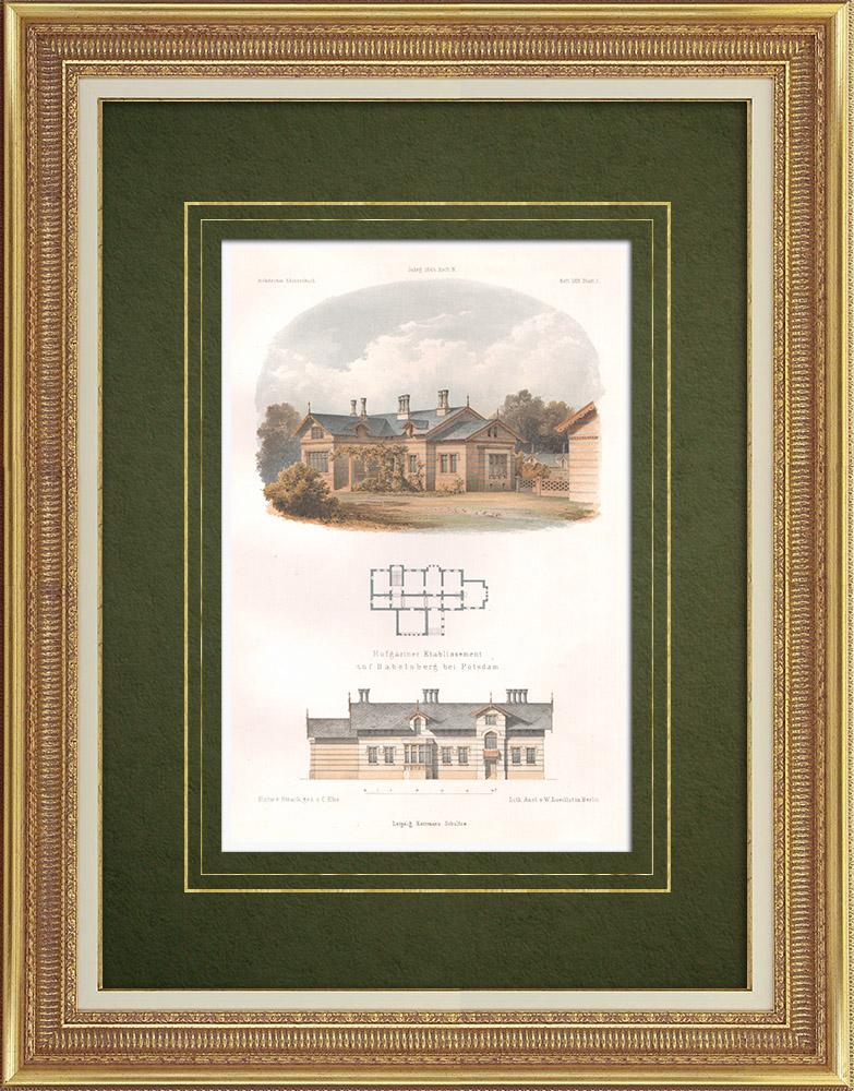 Gravures Anciennes & Dessins | Maison de jardinier à Babelsberg près de Potsdam (Allemagne) | Lithographie | 1865