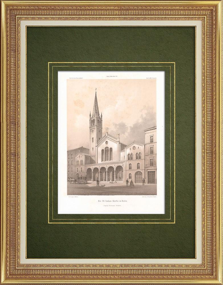 Stampe Antiche & Disegni | St.-Lukas-Kirche a Berlino (Germania) | Litografia | 1865