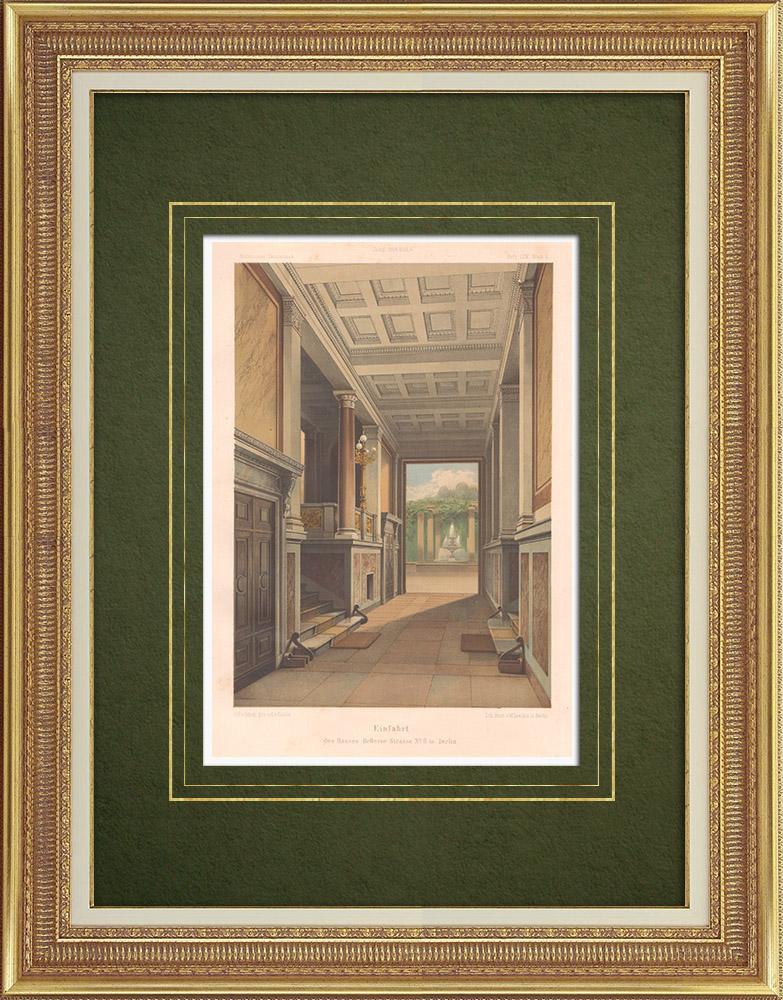 Gravures Anciennes & Dessins | Entrée d'une maison à Berlin (Allemagne) | Lithographie | 1864