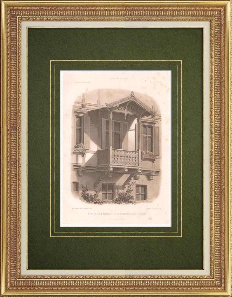 Stampe Antiche & Disegni | Balcone di una casa a Berlino (Germania) | Litografia | 1865