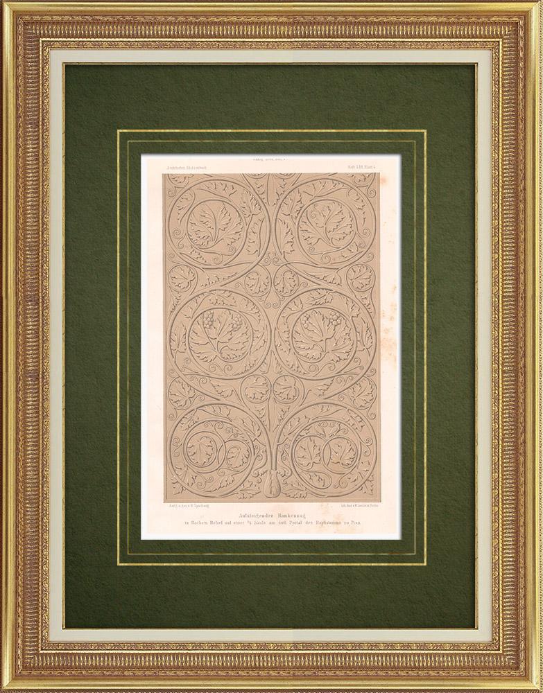 Stampe Antiche & Disegni   Ornamenti di un portale del Battistero a Pisa (Italia)   Litografia   1865